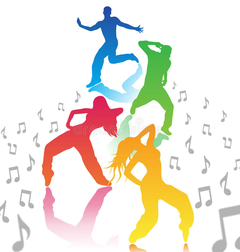 Men and women dancing stock illustration