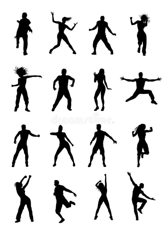 Men and women dancing Zumba stock illustration