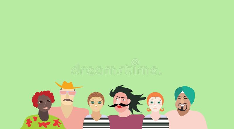 Men and women of different ages, races and nationalities. Design for poster, card, invitation, placard, brochure, flyer, packaging, websites. Space for text stock illustration