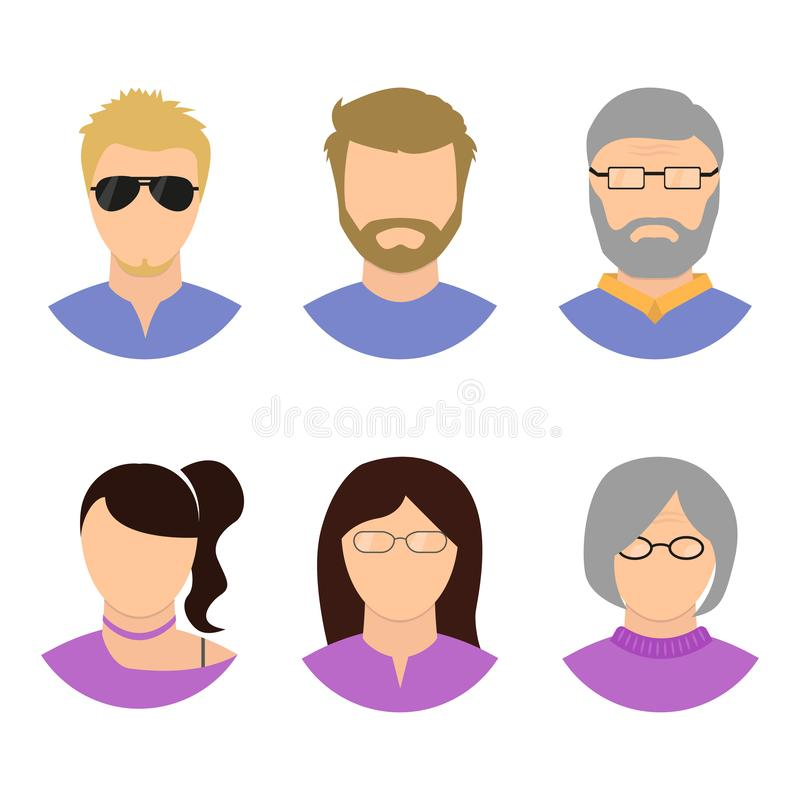 Men and women at different ages, vector vector illustration