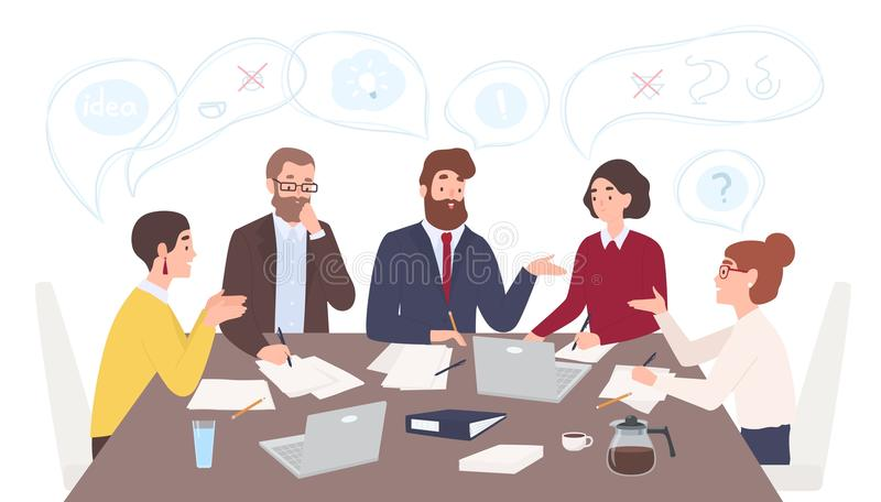 Men and women dressed in business clothes sitting at table and discussing ideas, exchanging information, solving. Problems. Brainstorm or group discussion vector illustration