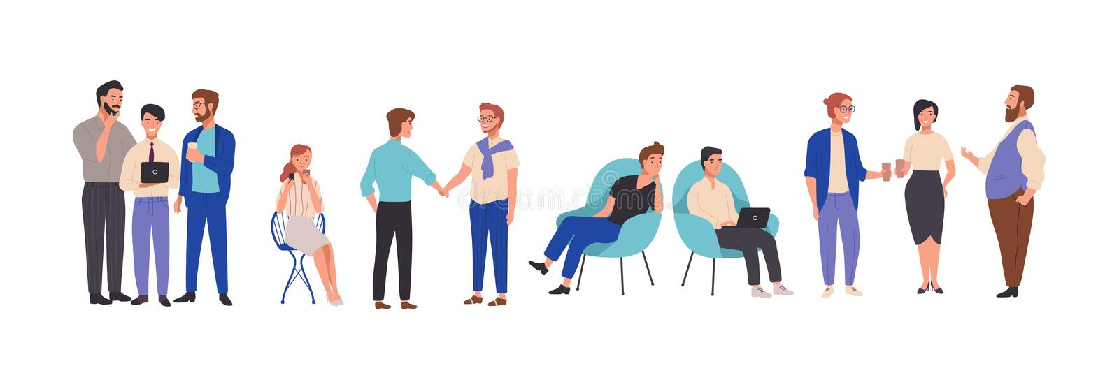 Men and women dressed in smart clothes take part in business meeting, formal discussion, conference. Male and female. Cartoon characters talk to each other stock illustration
