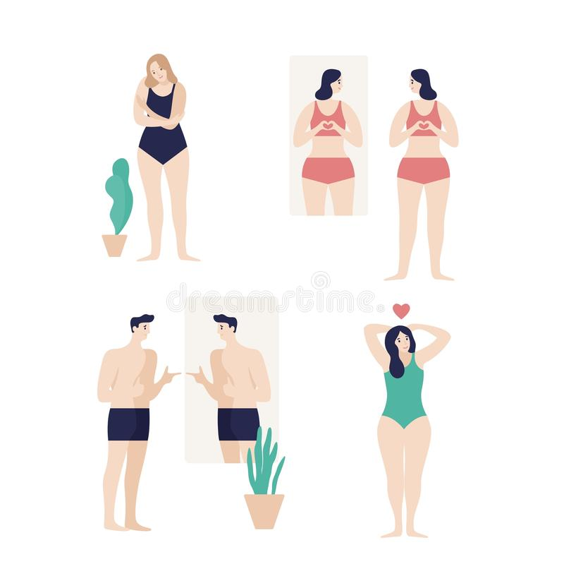 Men and women dressed in underwear looking in mirror and enjoying their bodies isolated on white background. Self. Acceptance, satisfaction with appearance vector illustration