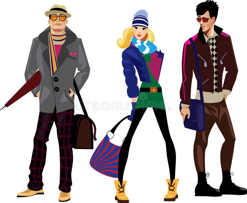 Men and women in fashionable clothes stock illustration