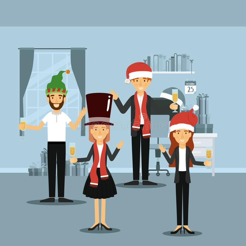 Men and women in formal clothes celebrating christmas with champagne and everyone with christmas hats on colorful scene stock illustration