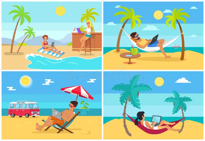 Men and Women Freelance on Beach in Summer Set. Freelancers on deck chairs and hammocks with laptops at beaches under palms vector illustrations set vector illustration