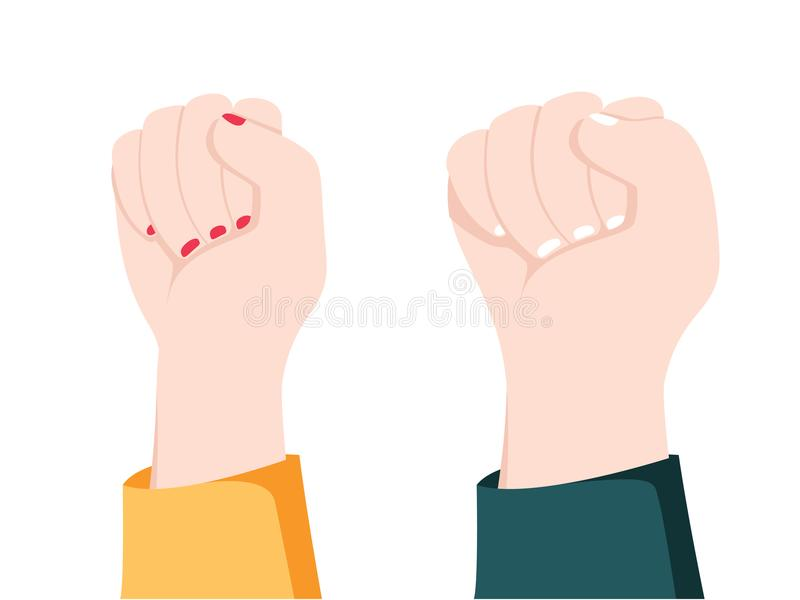 Men and women hands with gestures. Concept of resistance strength, freedom majority, fight or leadership. Men and women hands with gestures. Concept of royalty free illustration