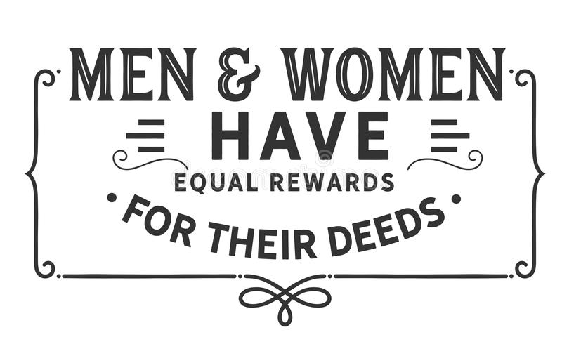 Men and women have equal rewards for their deeds stock illustration