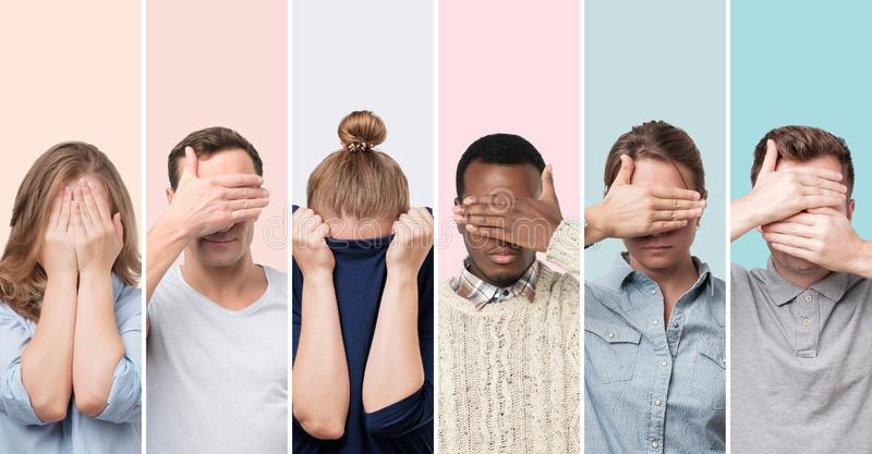 Men and women hiding face, wanting to stay anonym. Collage of young european men and women hiding face, wanting to stay anonym. I have social phobia concept royalty free stock image