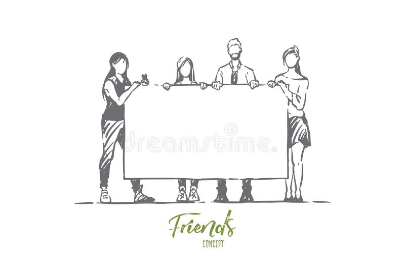 Men and women holding empty placard, surprise birthday party, congratulations, young friends, sociology. Men and women holding blank placard, surprise birthday stock illustration
