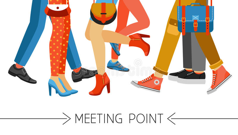Men And Women Legs And Footwear. Flat design men and women legs and feet with stylish colorful clothes and footwear on white background vector illustration vector illustration