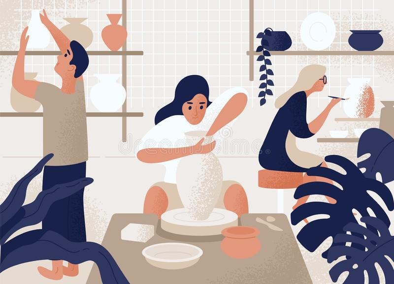 Men and women making and decorating pots, earthenware, crockery and other ceramics at pottery workshop. Group of people vector illustration
