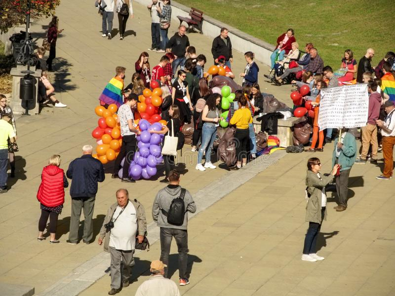 Men and women meet on Castle Square Plac Zamkowy in Lublin on the Gay parade. Crowd of people. Lublin, Poland - October 13,2018: Men and women meet on Castle royalty free stock photos