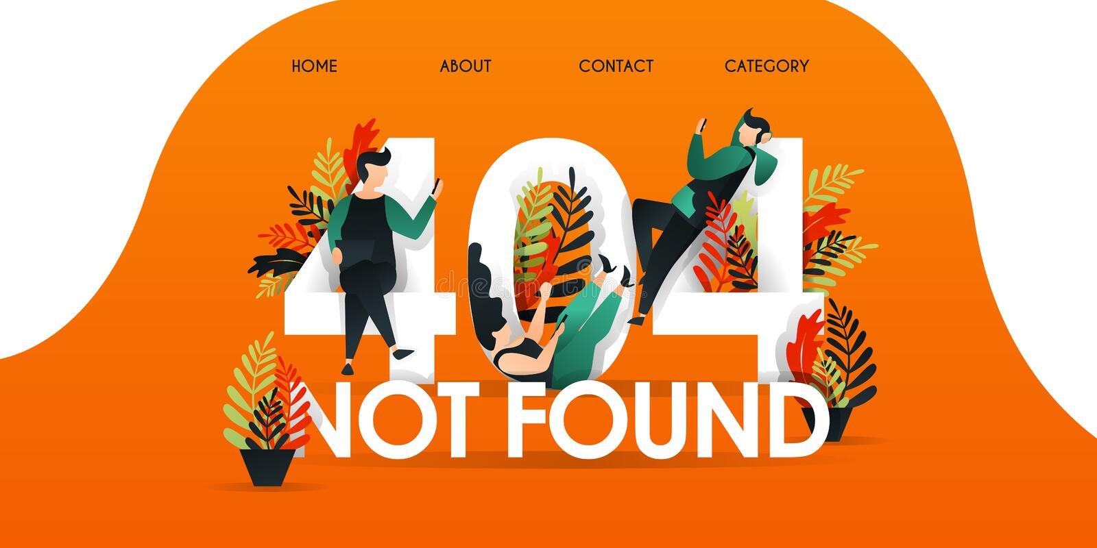 Men, women, and people who are lazing above the words `404 NOT FOUND`. Page not found 404 design tamplate. with character and flat stock illustration