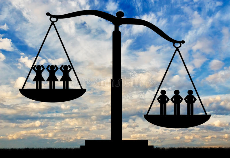 Men and women on the scales. Men and women on scales. Concept of gender inequality vector illustration