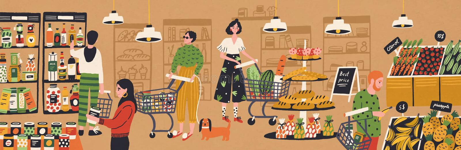 Men and women with shopping carts and baskets choosing and buying products at grocery store. People purchasing food at royalty free illustration