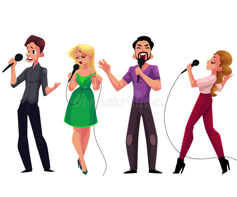 Men and women singing karaoke, holding microphones - competition, party, celebration. Men and women singing karaoke, holding microphones, cartoon vector stock illustration