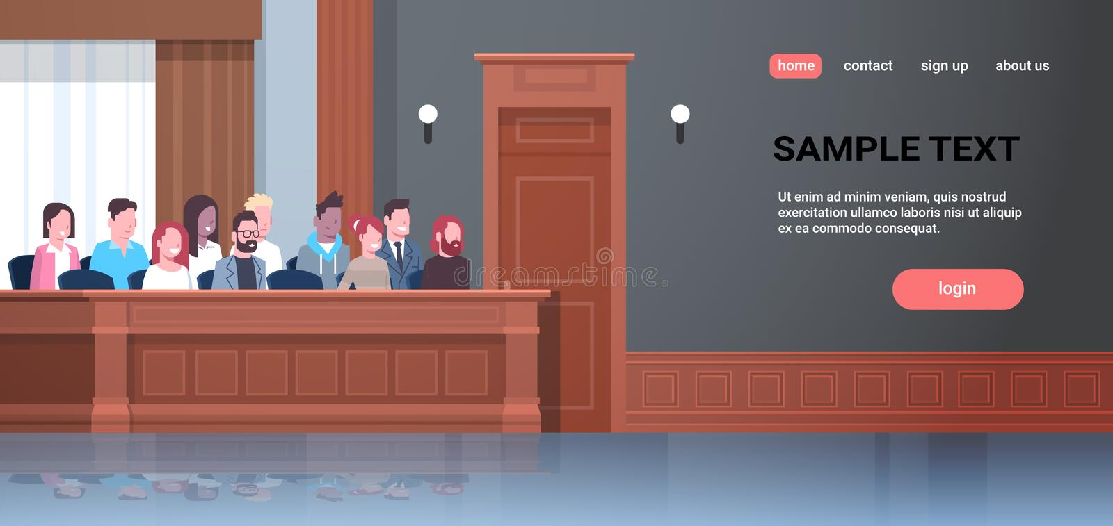 Men women sitting jury box court trial session mix race people in judging process modern courtroom interior portrait. Horizontal copy space vector illustration stock illustration