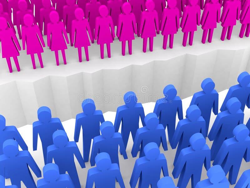 Download Men And Women Split On Sides, Separation Crack. Stock Illustration - Image: 30694082