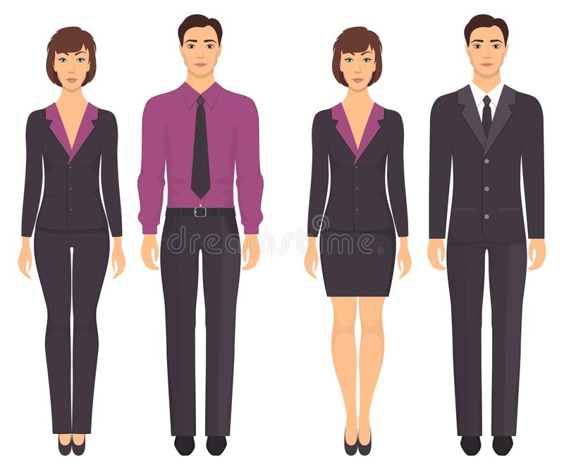 Men and women standing in full growth in formal clothes. Couples in elegant and casual clothes. Basic wardrobe. Vector illustratio stock illustration