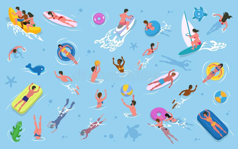 Men and Women Swimming in Water, Summer Recreation. Summer recreation, men and women swimming in water vector. Girls and guys in swimsuits, inflatable mattress vector illustration