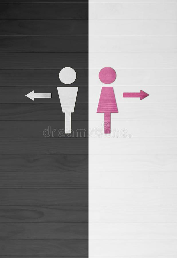 Men and Women symbol, Toilet sign. wooden wall background. illus royalty free stock photos