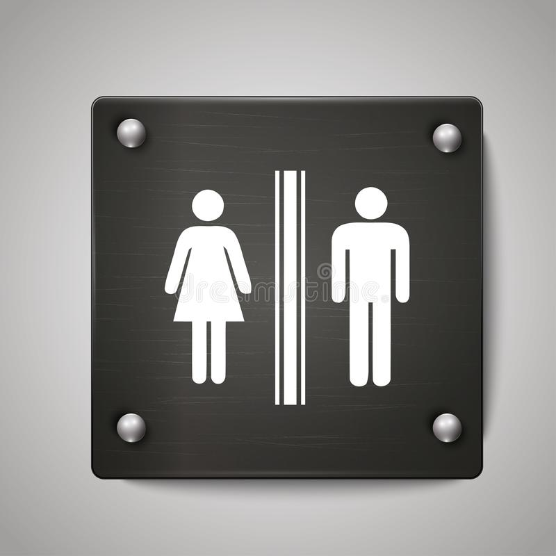 Men and Women toilet icon sign with black background stock illustration