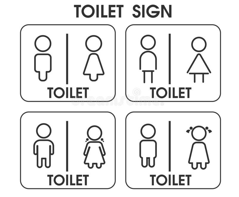 Men and Women Toilet sign icon themes That looks simple and modern. Illustration Vector EPS10.  stock illustration