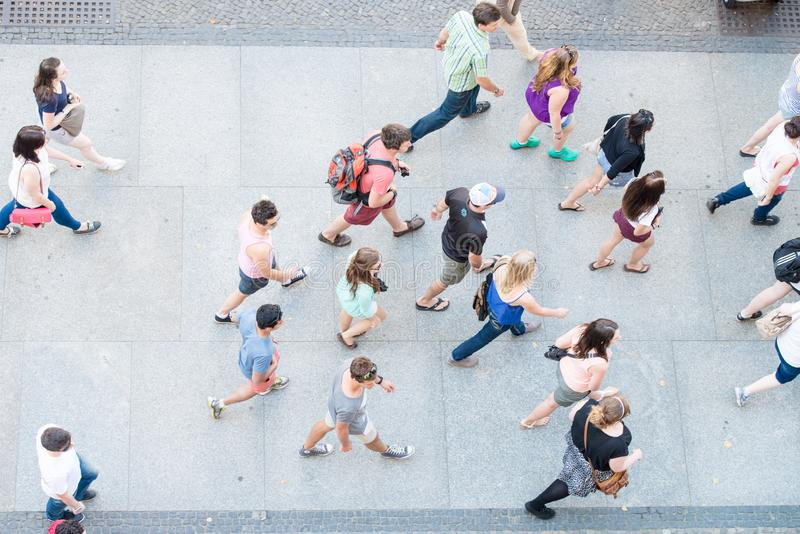People walking fast in City of Berlin, aerial view stock photography