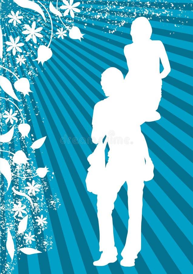 Men and women on white flowers vector illustration