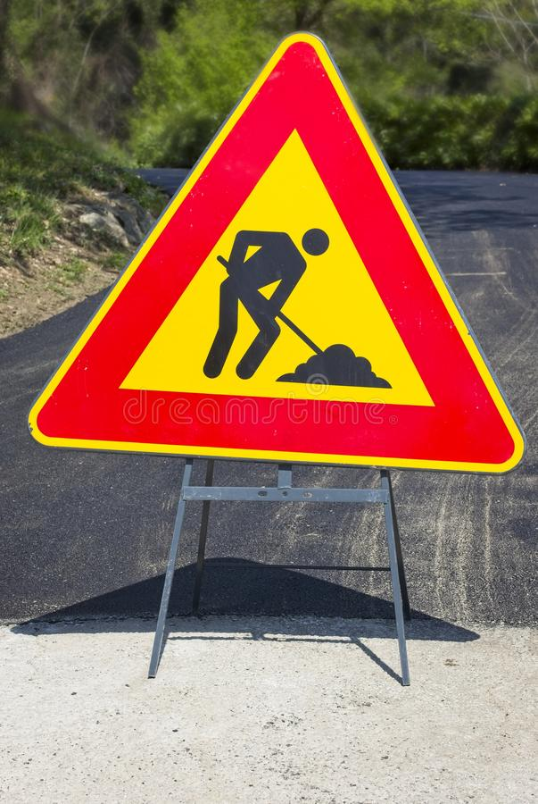 Road works sign stock image