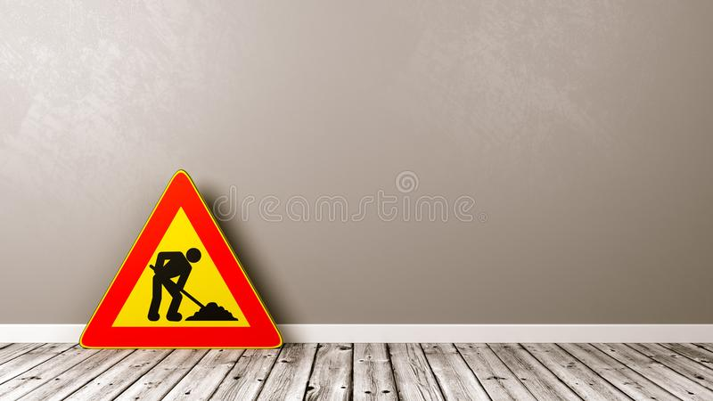 Men at Work Triangle Road-Sign on Wooden Floor. Men at Work Warning Triangle Road Sign on Wooden Floor Against Grey Wall with Copyspace 3D Illustration royalty free illustration