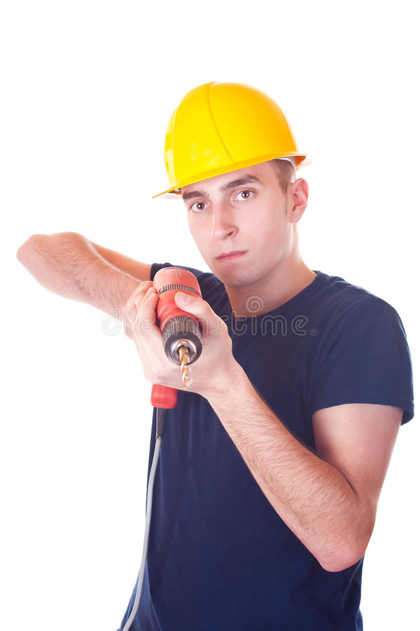 Men worker with a drill royalty free stock photos