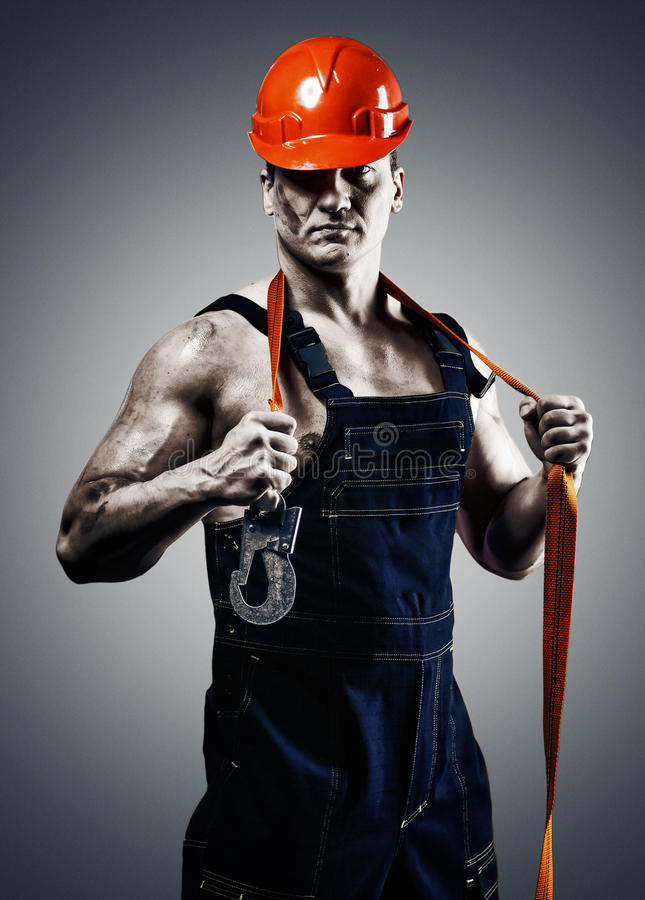 Men worker with orange helmet stock photo