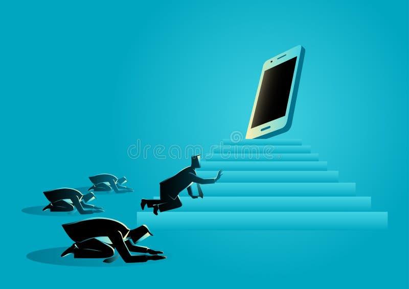 Men worshiping a gadget or smart phone vector illustration