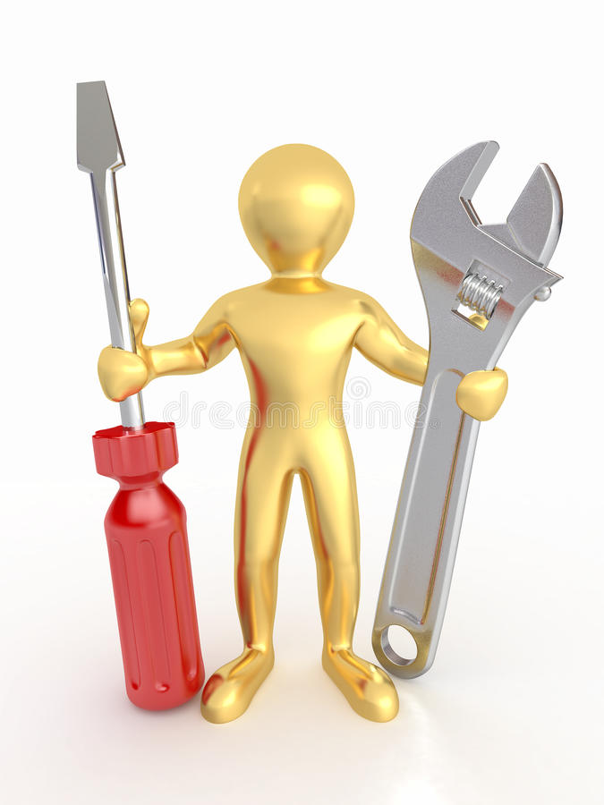 Download Men With Wrench And Screwdriver. 3d Royalty Free Stock Photo - Image: 20044275