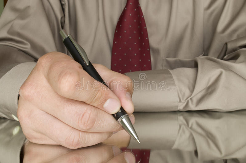 Download Men writing stock photo. Image of occupation, paper, reflection - 16154122