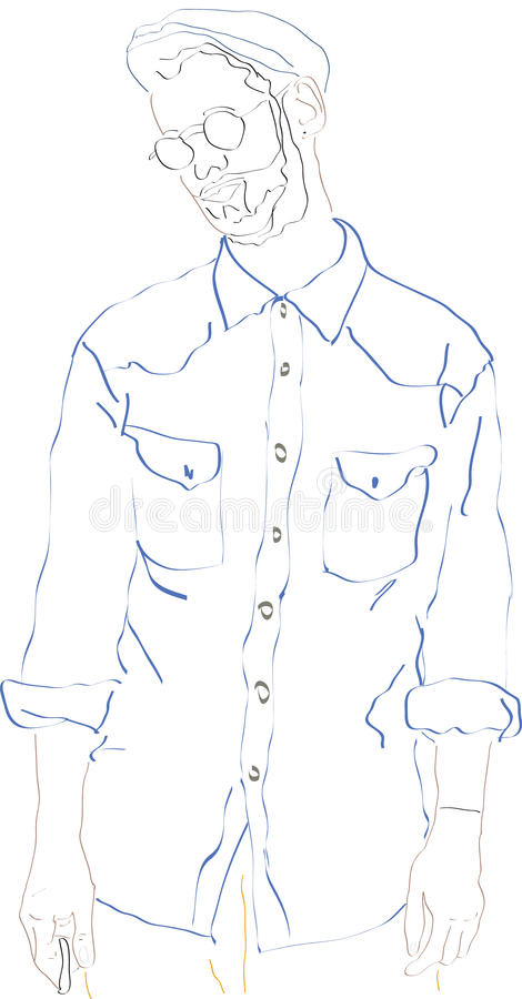 Men young illustrate. Abstract illustration of young men (This design has been prepared in Adobe Illustrator royalty free illustration
