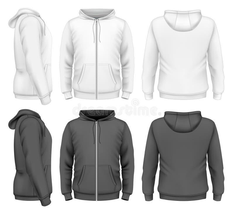 Men zip hoodie. Men hoodie design templates. Vector illustration