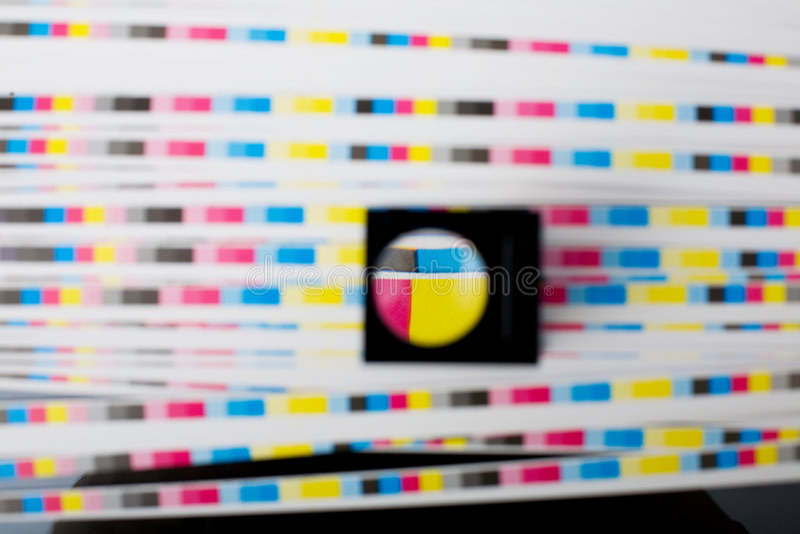 Menagement del color - calidad del color de la hoja de la impresión fotografía de archivo
