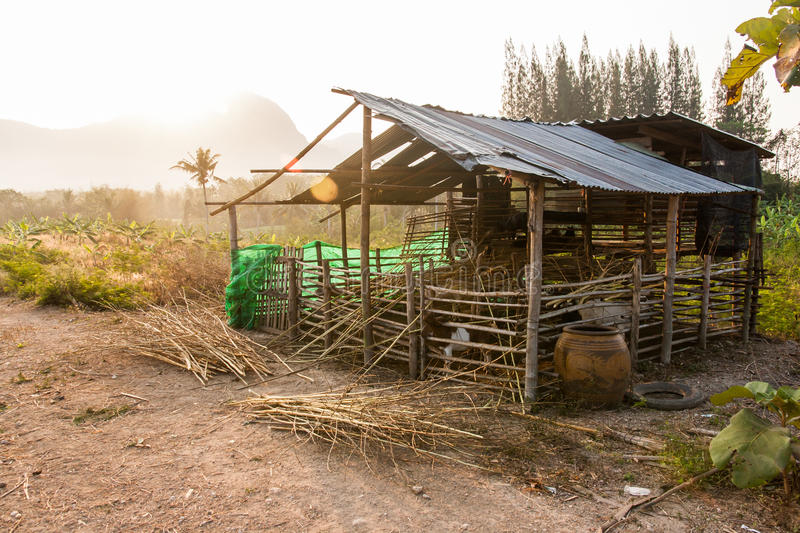 Menagerie. Animal huts of the villagers in the countryside stock photo