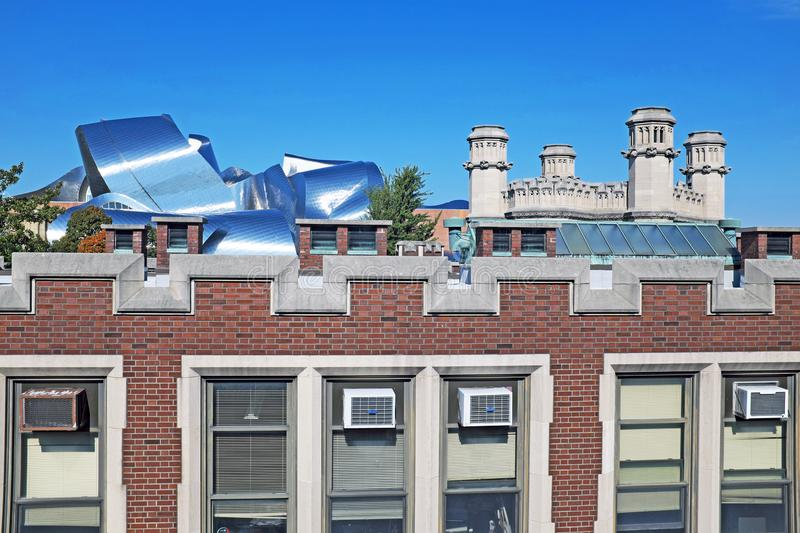 A menagerie of different rooftops attest to the history and growth of University Circle in Cleveland, Ohio, USA. The rooftops in the University Circle royalty free stock image