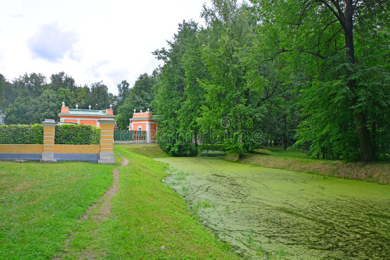 The Menagerie and a pond in Kuskovo estate in Moscow. In Kuskovo estate - architectural and art ensemble of the 18th century in Moscow city, Russia royalty free stock photo