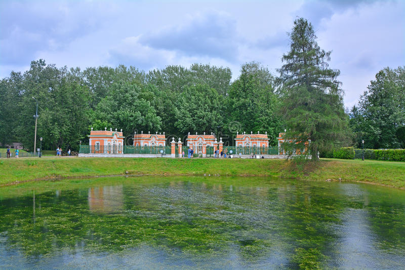 The Menagerie and a pond in Kuskovo estate in Moscow. In Kuskovo estate - architectural and art ensemble of the 18th century in Moscow city, Russia royalty free stock photos