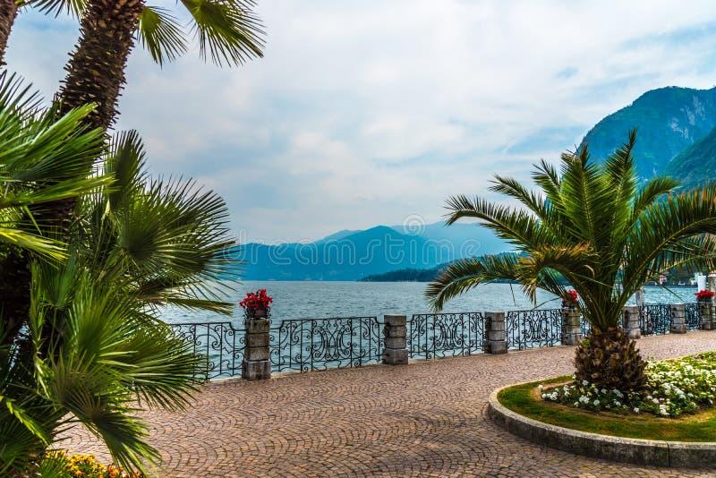 Menaggio embankment on lake Como, Italy stock photos
