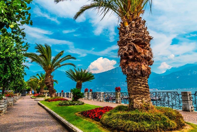 Menaggio embankment on lake Como, Italy stock photo