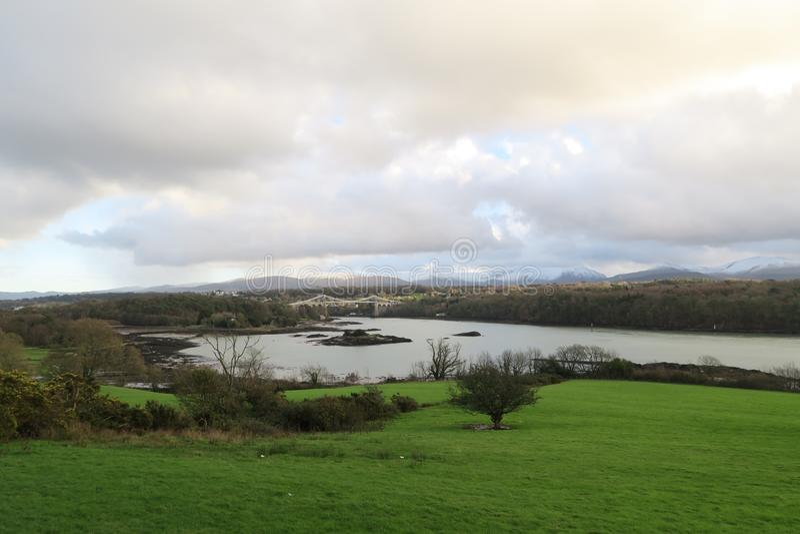 Menai-Brücke, Wales lizenzfreies stockfoto