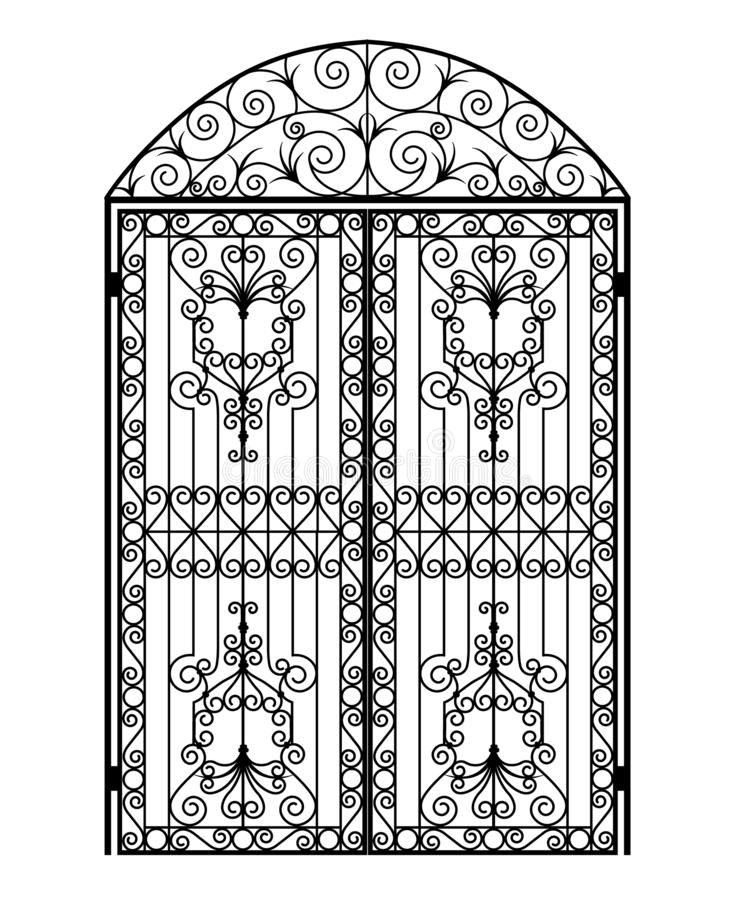 Menal arched gate. Arched metal gate with forged ornaments on a white background vector illustration