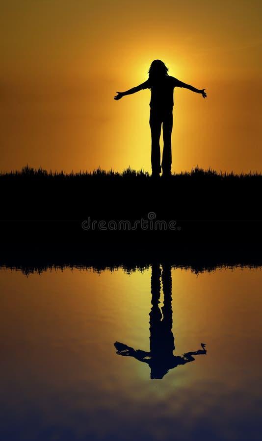 Menande God Reflexion Fotografering för Bildbyråer