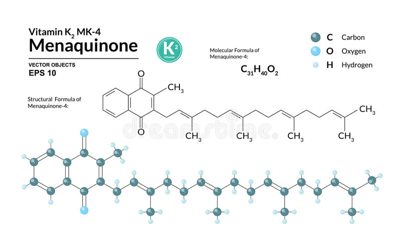 Menaquinone-4结构化工分子式和模型  原子代表作为球形用颜色编码 皇族释放例证